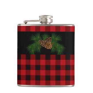 Flasques Cône rouge et noir de pays de plaid de pin
