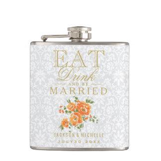Flasques Mangez, boisson et soyez marié - floral orange