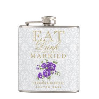 Flasques Mangez, boisson et soyez marié - floral pourpre