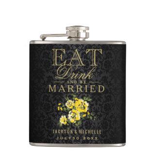 Flasques Mangez, boisson et soyez marié - jaune et noir