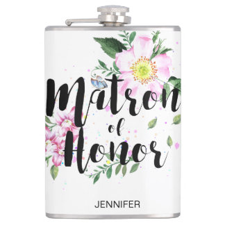 Flasques Mariage floral rose d'aquarelle de dame de honneur