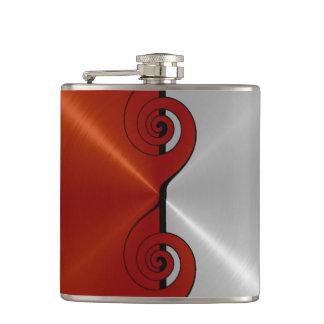 Flasques Métal en acier métallique rouge et argenté