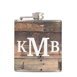 Flasques Monogramme classique en bois chic rustique