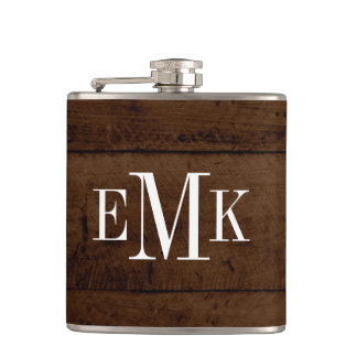Flasques Monogramme classique en bois de Faux chic rustique
