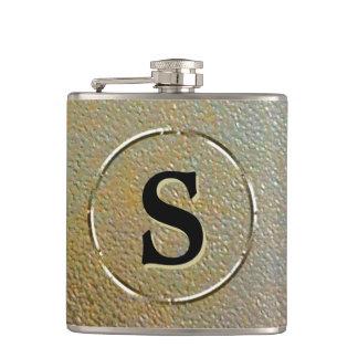 Flasques Monogramme de la texture piqué par argent rustique