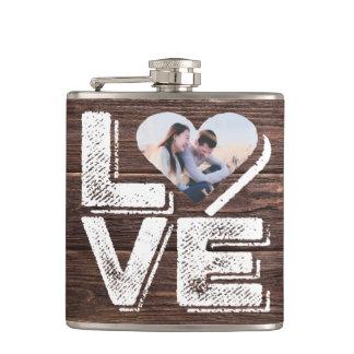Flasques Monogramme rustique de cadre de coeur de photo de