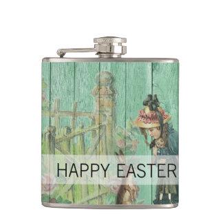 Flasques Scène rustique de lapin de Pâques peinte par cru