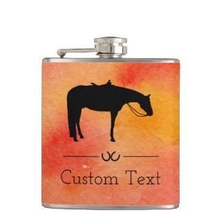 Flasques Silhouette occidentale noire de cheval sur