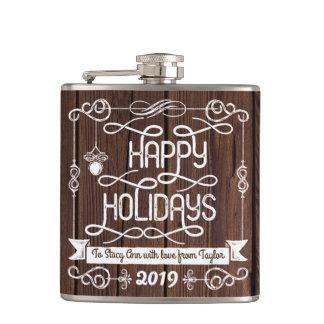 Flasques Typographie rustique de Noël en bois bonnes fêtes