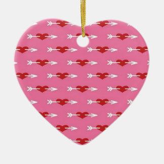 Flèche de cupidons au coeur ornement cœur en céramique