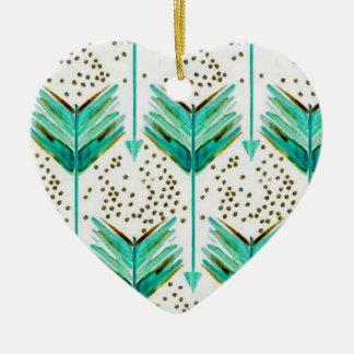 Flèches de plume ornement cœur en céramique
