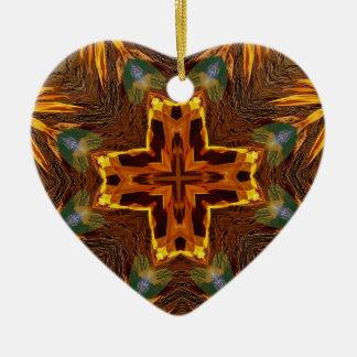 Flèches flamboyantes Mandela d'automne frais Ornement Cœur En Céramique