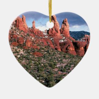 Flèches rouges Sedona Arizona de roches Ornement Cœur En Céramique