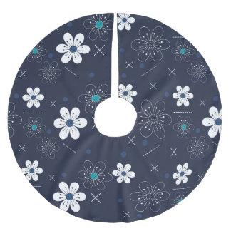 Fleur blanche bleue de Noël de jupe d'arbre rétro Jupon De Sapin En Polyester Brossé