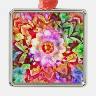 Fleur colorée abstraite moderne ornement carré argenté