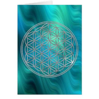Fleur d'argent de la vie |, vagues bleu-vert carte de vœux