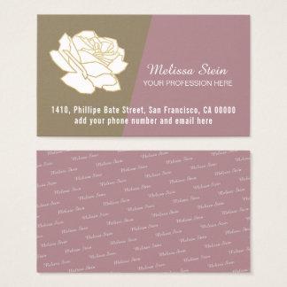 fleur de blanc-rose, féminin floral élégant cartes de visite
