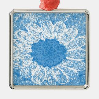 fleur de bleu de ciel ornement carré argenté