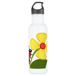 Fleur de coccinelle bouteille d'eau en acier inoxydable