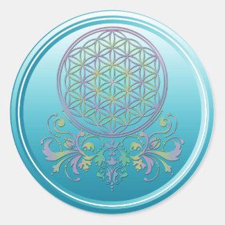 Fleur de DES Lebens - ornements de la vie/Blume II Sticker Rond