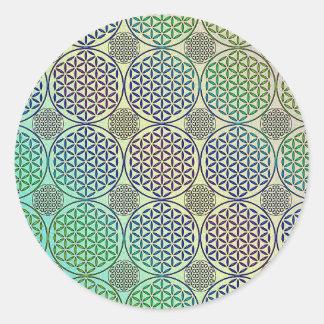 Fleur de la vie - emboutissez le motif grunge 2 sticker rond