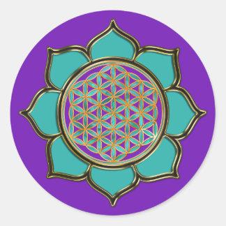 Fleur de la vie Lotus - türkis/purple Autocollant Rond