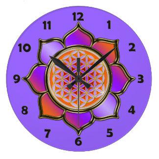FLEUR DE LA VIE - lotus violet + nombres de visage Grande Horloge Ronde