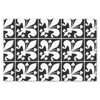 Fleur de Lys noir et blanc élégant Papier Mousseline