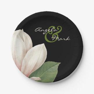 Fleur de magnolia du sud épousant le noir élégant assiettes en papier