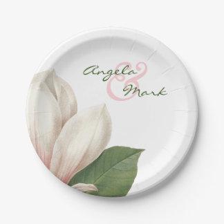 Fleur de magnolia du sud épousant | rose et blanc assiettes en papier