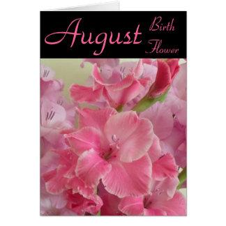 Fleur de naissance d'août - carte de note de