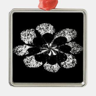 fleur en fleur ornement carré argenté