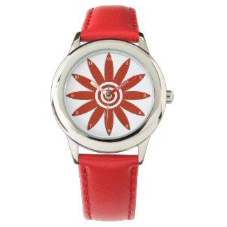 Fleur florale fraîche de pétales rouges de fleur montres bracelet
