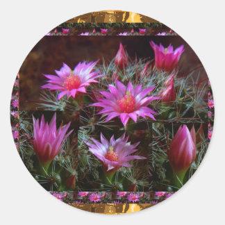 Fleur fraîche de cactus de CACTUS : Exposition Sticker Rond