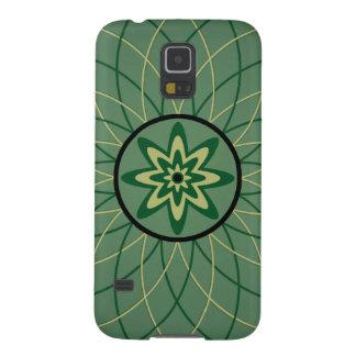 Fleur géométrique de Forest Green Coque Galaxy S5