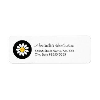Fleur Girly de marguerite blanche de visage Étiquette D'adresse Retour