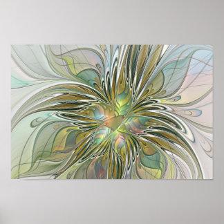Fleur moderne d'art de fractale d'imaginaire poster