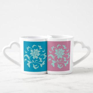 Fleur orientale - menthe - Blue&Pink Mug
