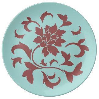 Fleur orientale - ventouse Shell - rouge Assiette En Porcelaine