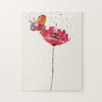 Fleur peinte stylisée de pavot d'aquarelle puzzle