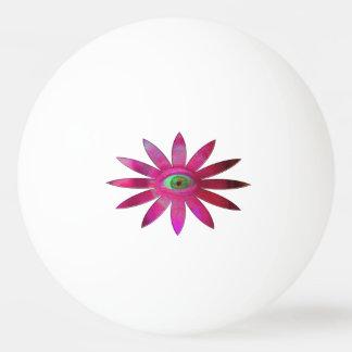 Fleur rosâtre d'oeil balle tennis de table