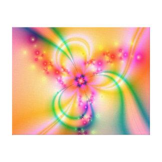 Fleur rose avec des rubans toile