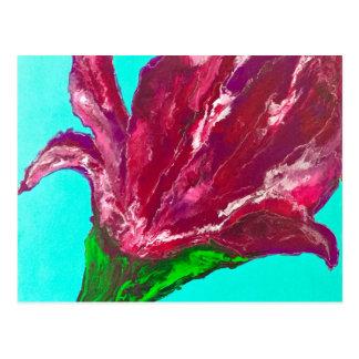 Fleur rose carte postale