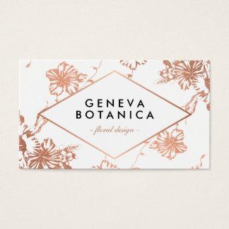 Fleuriste floral de motif d'or rose élégant cartes de visite
