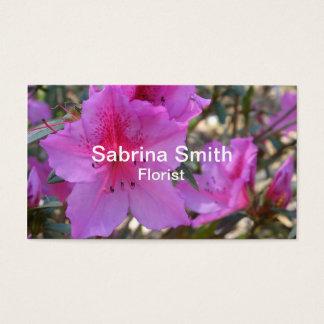 Fleuriste rose de fleurs d'azalées cartes de visite