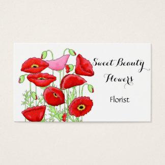 Fleuriste rose rouge de coutume d'art de fleurs de cartes de visite