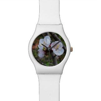 Fleurs blanches savoureuses de ressort, montre