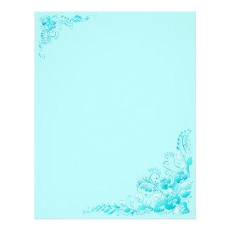 Fleurs bleues de couleur d'Aqua d'arrière - plan Prospectus 21,6 Cm X 24,94 Cm