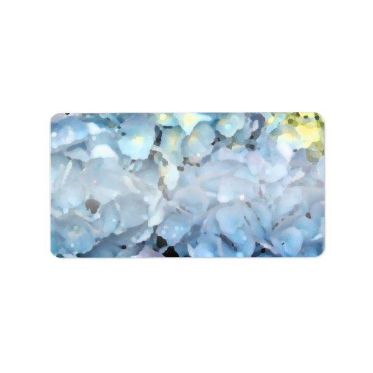 Fleurs bleues d'hortensia étiquette d'adresse