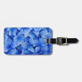 Fleurs bleues d'hortensia étiquette pour bagages